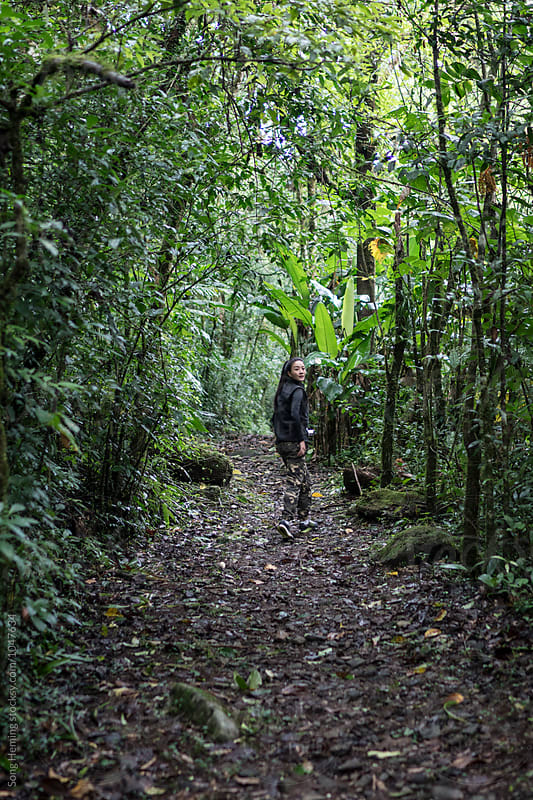Hiker with a camera walking in the rain forest by Song Heming for Stocksy United