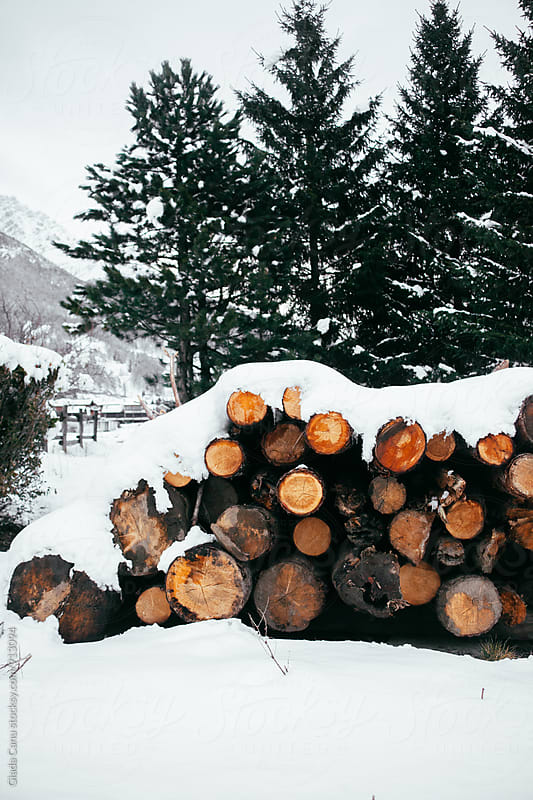 Firewood under the snow by Giada Canu for Stocksy United