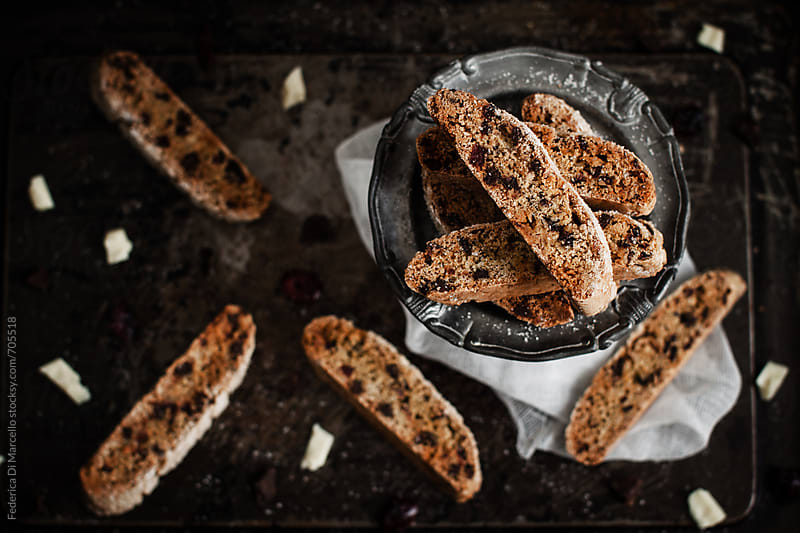 Double chocolate and cranberry biscotti by Federica Di Marcello for Stocksy United