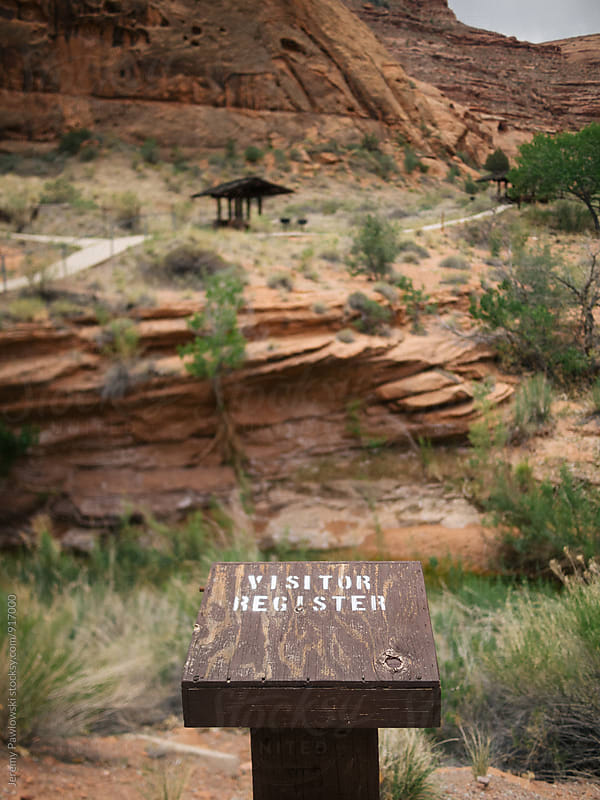 Hiking register. Trail log book. Redrocks. by Jeremy Pawlowski for Stocksy United