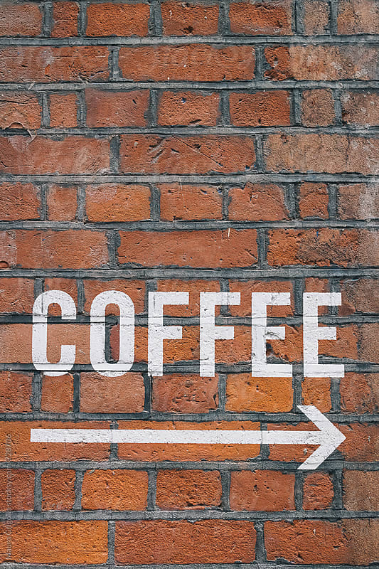Coffee Sign on brick wall by Mauro Grigollo for Stocksy United