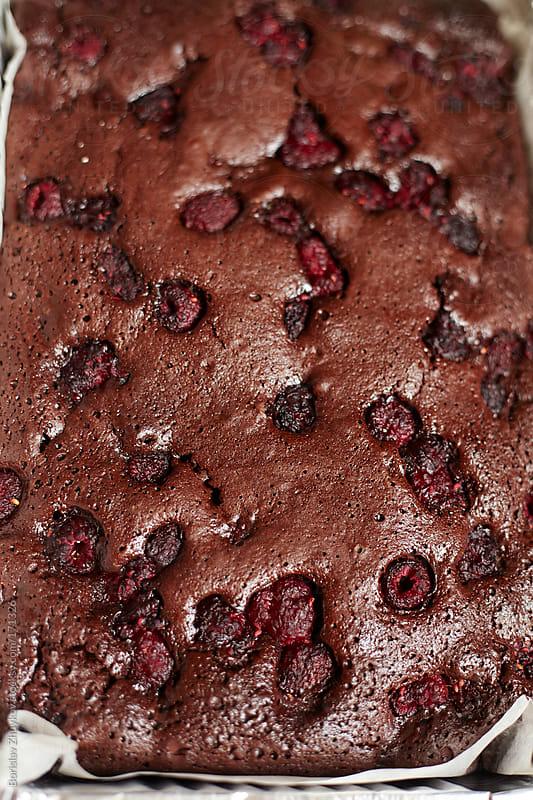 Homemade Brownie Cake with Raspberry by Borislav Zhuykov for Stocksy United