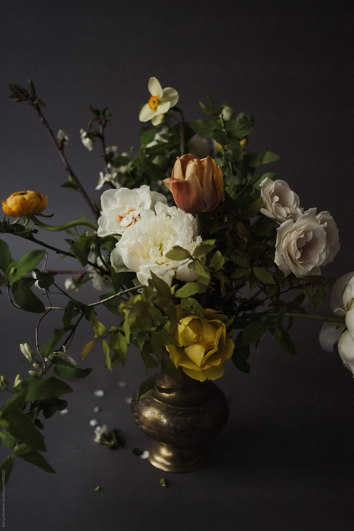 Organic Spring Bouquet Of Garden Roses Tulips Peony And Ranunculus On Dark Background By Jess Craven Stocksy United