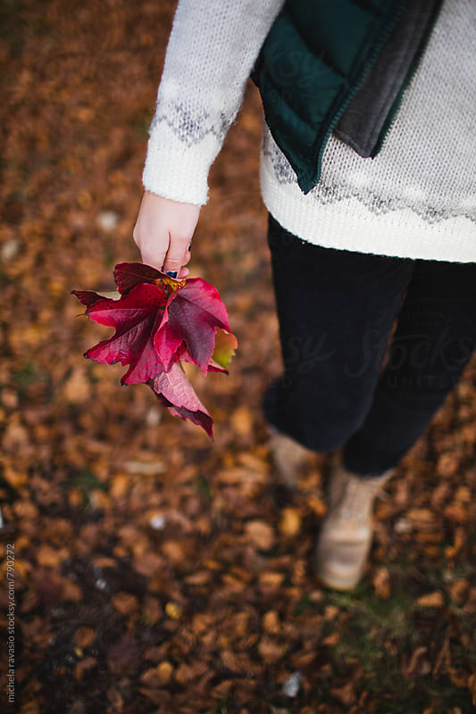 Woman with red leaves in hand by michela ravasio for Stocksy United