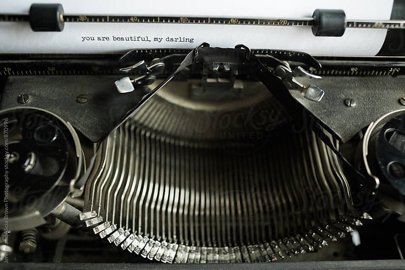vintage typewriter close up with a love note by Jeremy and Alicia Brown Photography for Stocksy United