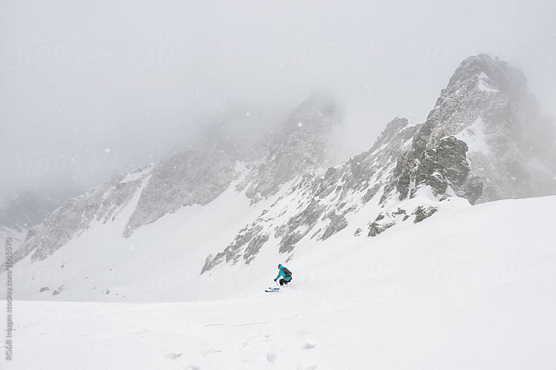 Skier off piste on a foggy day by RG&B Images for Stocksy United