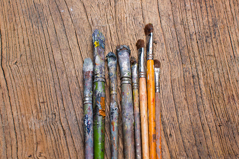 Watercolor paintbrushes by Maa Hoo for Stocksy United