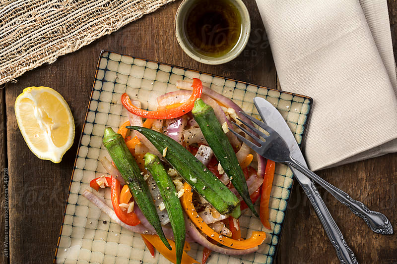 Grilled Okra with Peppers, Lemons and Olive Oil by Jeff Wasserman for Stocksy United