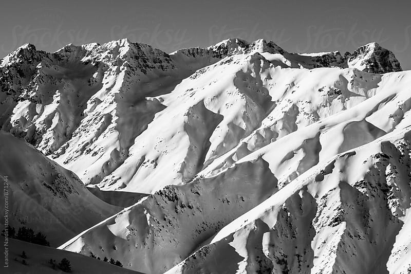snowcovered mountain range in east anatolia, turkey - black and white by Leander Nardin for Stocksy United