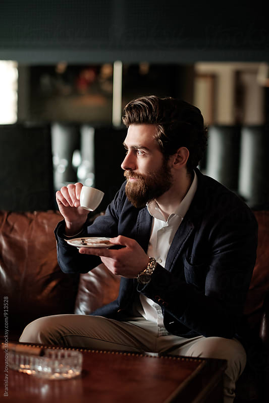 Handsome Bearded Man Drinking Espresso by Branislav Jovanović for Stocksy United