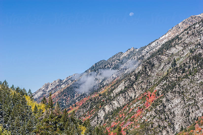 Moonrise over the Wasatch Mountains by Adam Nixon for Stocksy United