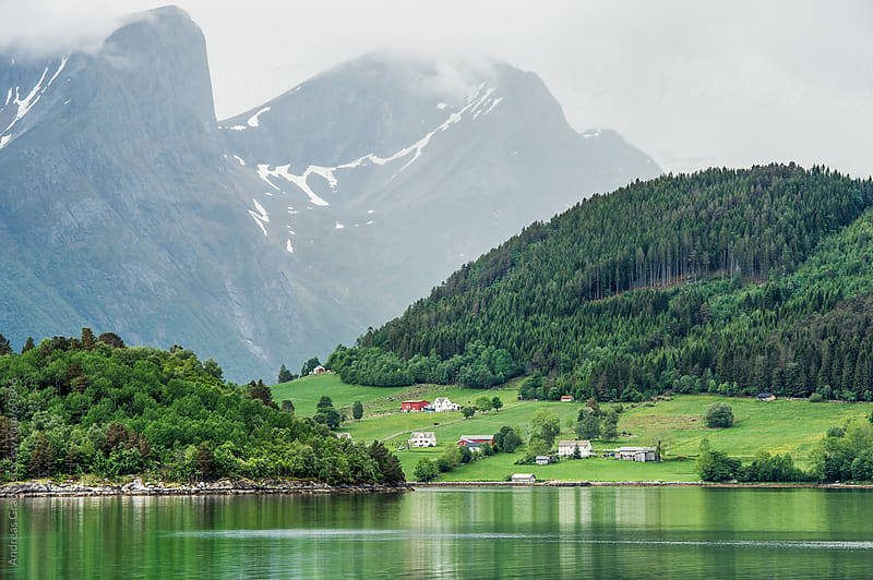 norwegian fjord landscape in Fjordland, Norway by Andreas Gradin for Stocksy United