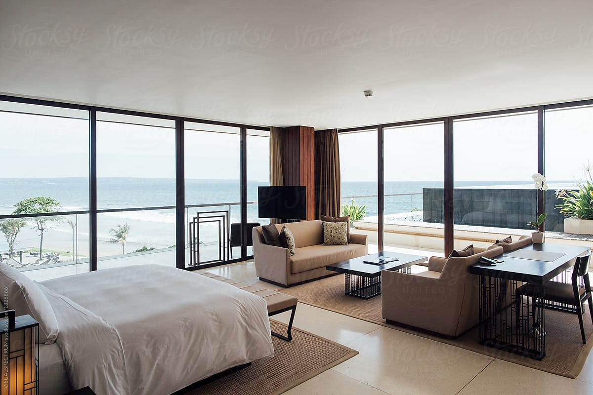Minimalist Master Bedroom In High End Beach Resort By Visualspectrum Bedroom View Stocksy United