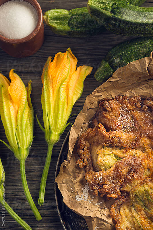 Fried zucchini blossoms  by CACTUS Blai Baules for Stocksy United