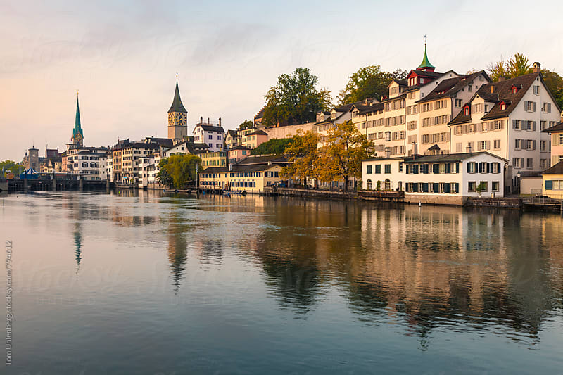 Zurich, Switzerland - City Skyline and the River Limmat at Dawn by Tom Uhlenberg for Stocksy United