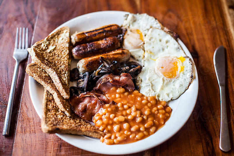 Full English cooked breakfast by sally anscombe for Stocksy United