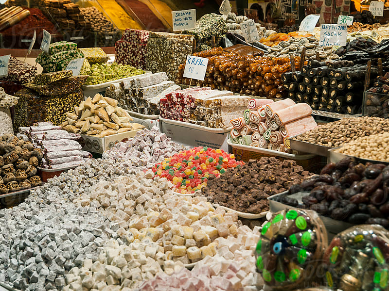 Turkish Sweets on display in a Bazaar / market in Istanbul Turkey by DV8OR for Stocksy United