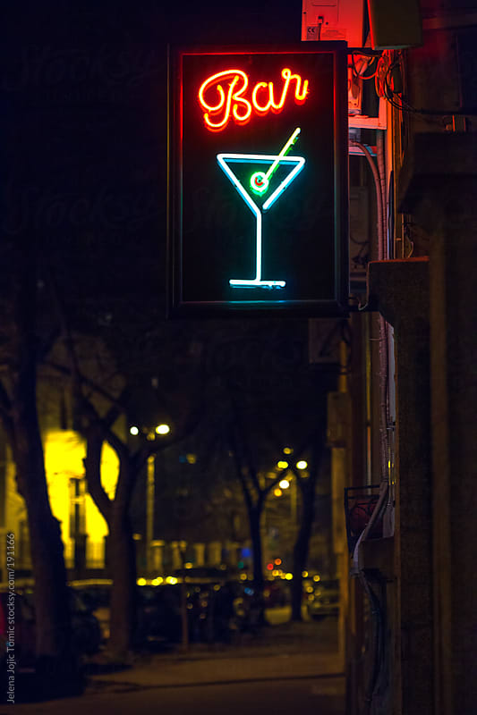 Bar sign at the street by Jelena Jojic Tomic for Stocksy United