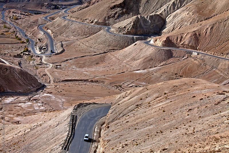 High altitude motorable winding road in Ladakh,India by PARTHA PAL for Stocksy United