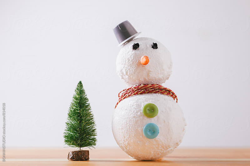 Snowman diy step by step tutorial. Step 5. by BONNINSTUDIO for Stocksy United