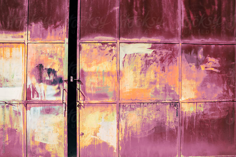Open pink rusty gate with grunge surface by Beatrix Boros for Stocksy United