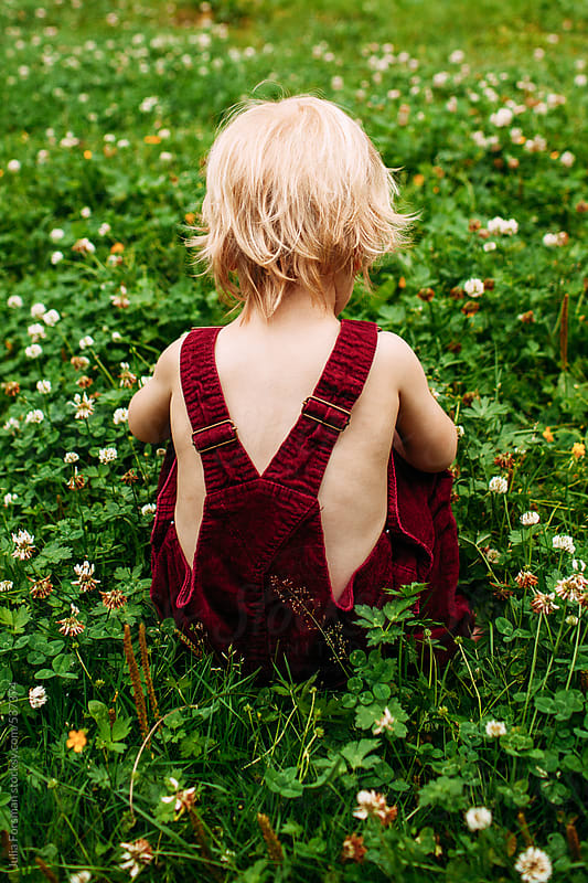 Back view of small child wearing dungarees sitting in a clover field. by Julia Forsman for Stocksy United