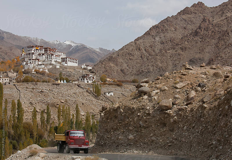 Landscape of Ladakh with Likir Monastery backdrop by PARTHA PAL for Stocksy United
