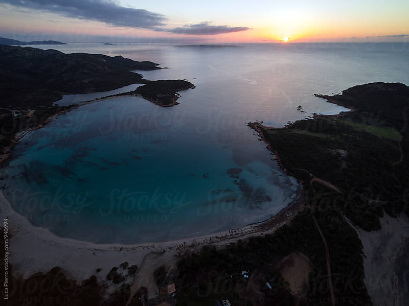 Aerial view of Rondinara beach at sunrise by Luca Pierro for Stocksy United