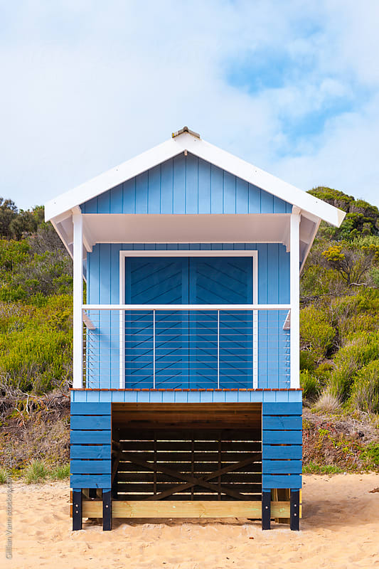 blue beach hut by Gillian Vann for Stocksy United