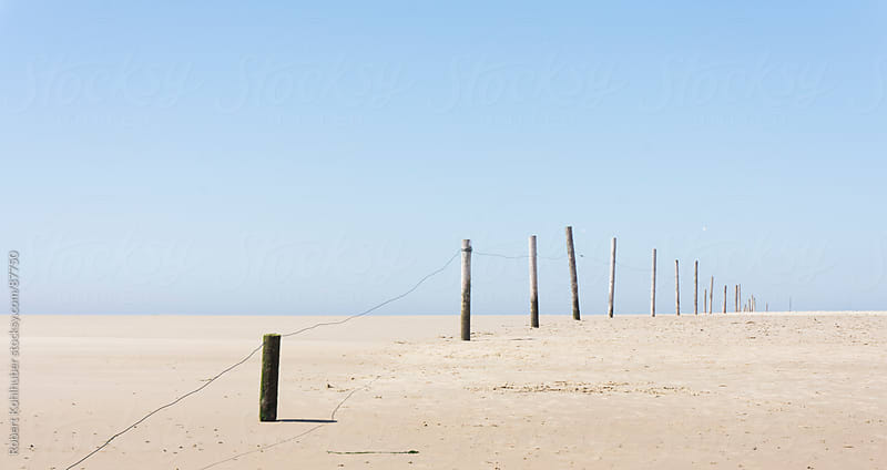 Wooden poles at the beach by Robert Kohlhuber for Stocksy United