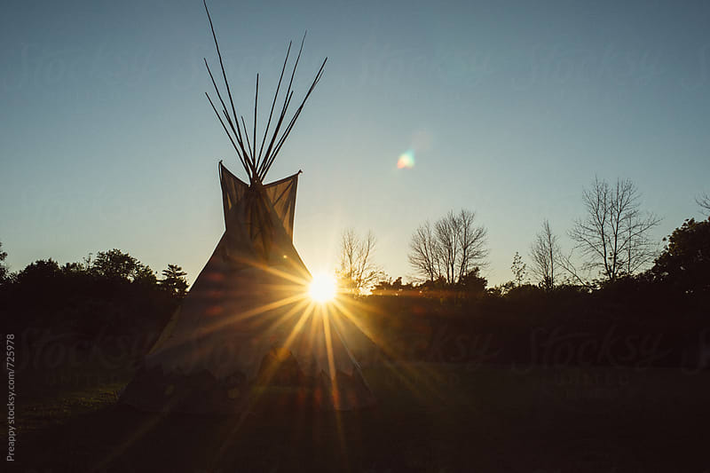 Sunflare and tipi by Preappy for Stocksy United