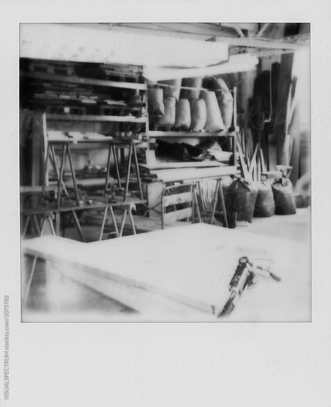 Black and White Polaroid of Workshop Space by Julien L. Balmer for Stocksy United