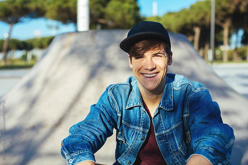 Skater young man in a skatepark by BONNINSTUDIO for Stocksy United