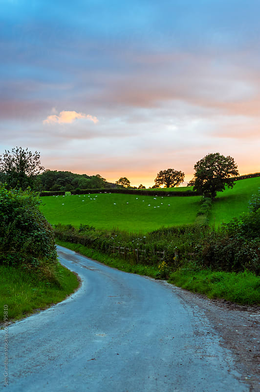 Welsh road during sunset by Jen Grantham for Stocksy United
