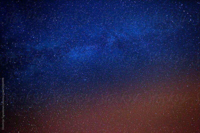 Milky way and stars in the sky by Dimitrije Tanaskovic for Stocksy United