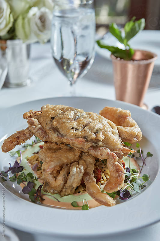 Soft Shell Crab at an elegant restaurant  by Alicja Colon for Stocksy United