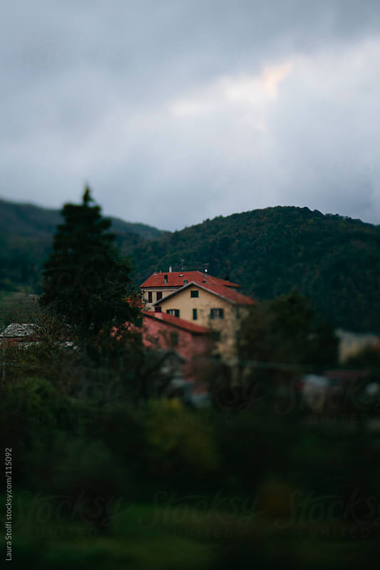 Stormy sky and houses amongst tree in italian mountain village at dusk by Laura Stolfi for Stocksy United