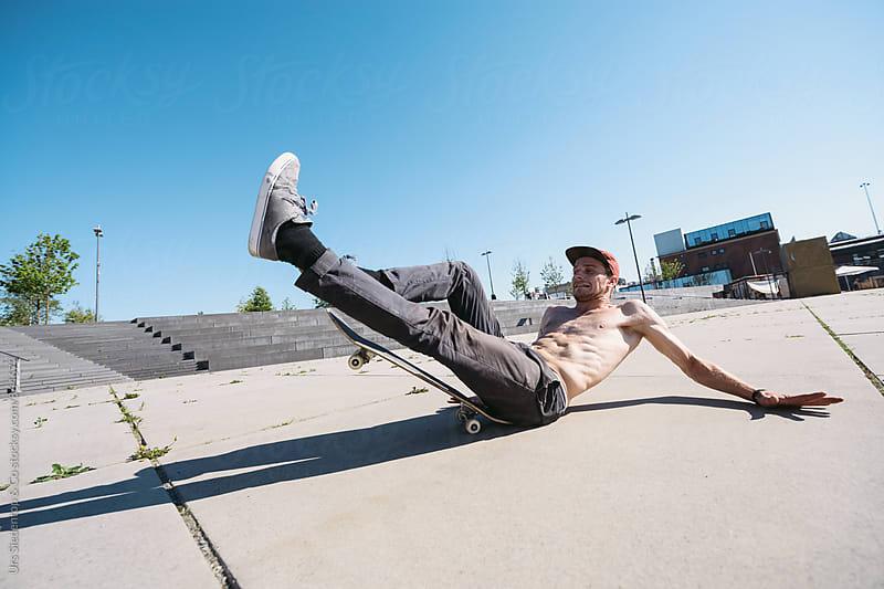 Skateboard Yoga fail by Urs Siedentop & Co for Stocksy United