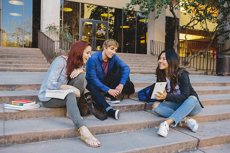 College Students Studying Outdoors by Jayme Burrows for Stocksy United