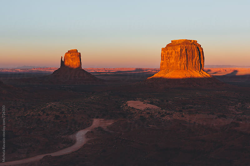 View Of Monument Valley at sunset by michela ravasio for Stocksy United