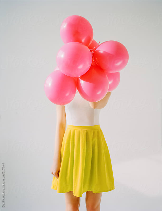 Beautiful girl with balloons by T-REX & Flower for Stocksy United