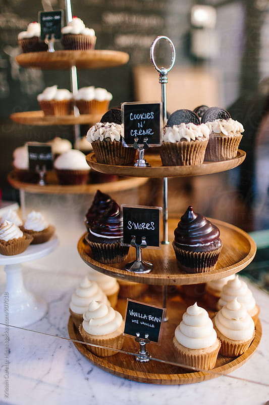 Dessert bar with tasty cupcakes.  by Kristen Curette Hines for Stocksy United
