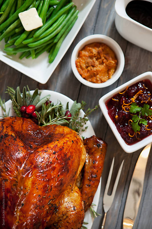 Thanksgiving: Table Full Of Thanksgiving Goodies by Sean Locke for Stocksy United