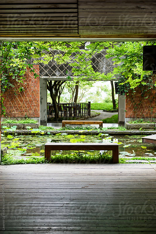 Beautiful silent pond with benches by Lawren Lu for Stocksy United