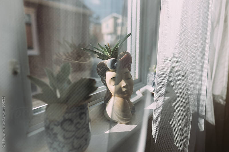 Vintage planters in windowsill by kelli kim for Stocksy United