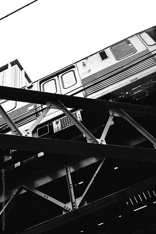 Abstract black and white of train & rail by Kristen Curette Hines for Stocksy United