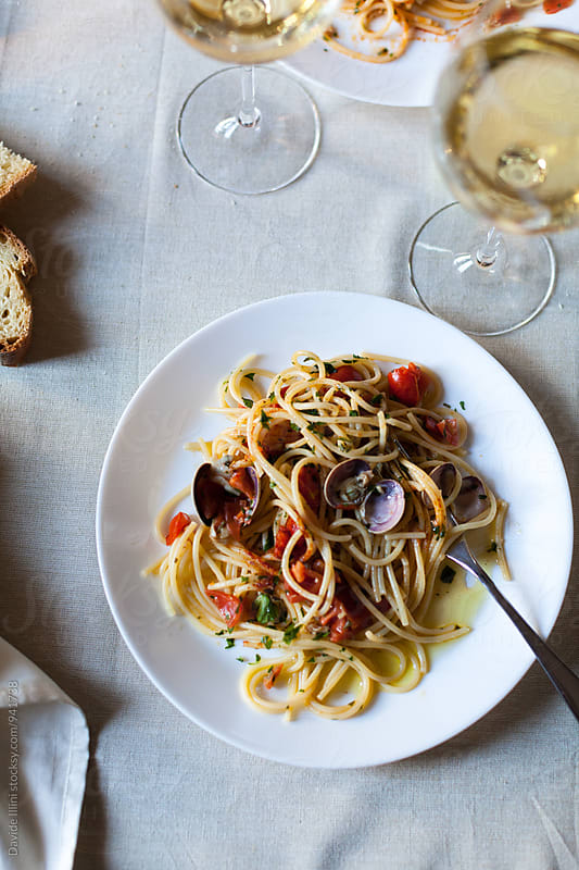 Spaghetti with clams by Davide Illini for Stocksy United
