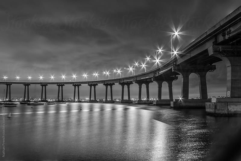 Coronado Bridge at Night Black and White by Nathan French for Stocksy United