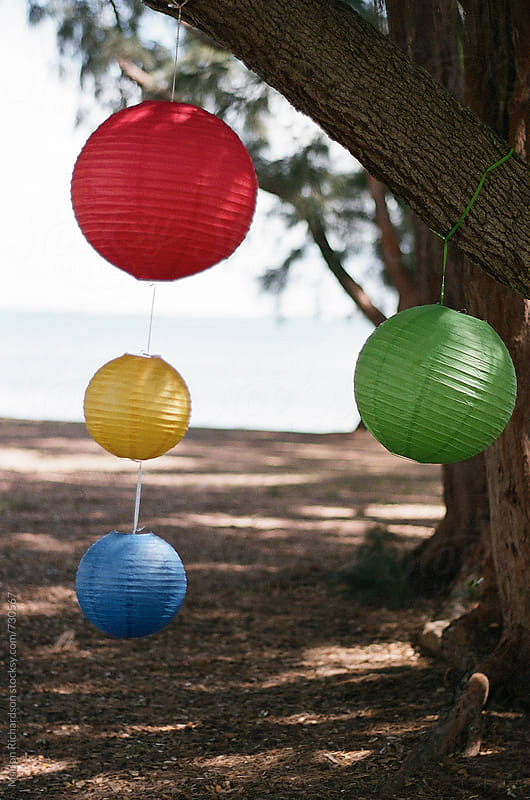 Multi-colored party lanterns by Marlon Richardson for Stocksy United