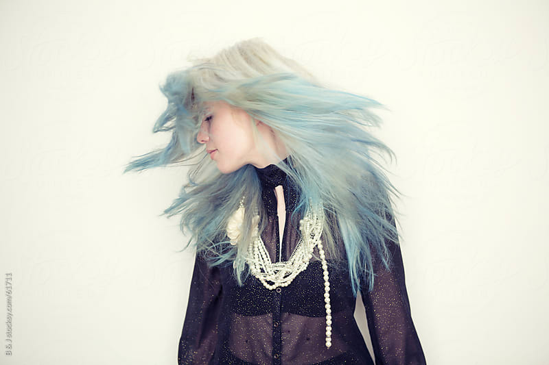 pastel blue hair by B & J for Stocksy United
